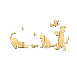 $enCountryForm.capitalKeyWord UK - 3D mirror wall stickers kids Creative Home Decor DIY silver cute cats Removable Decoration Stickers 2017 11pcs set wholesale Free deliver