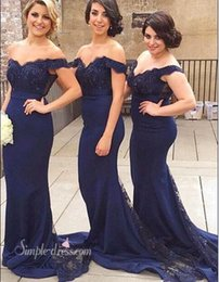 Demoiselles D'honneur Bleu Foncé Pas Cher-Robes de demoiselle d'honneur 2016 Off The Shoulder Beads Sequins Sexy Mermaid Chiffon Sweetheart Bleu Dark Red Formal Event Wedding Invités Robes