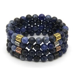 blue veins stone 2019 - Wholesale 10pcs lot 8mm Natural Blue Veins Stone with Rectangle Micro Paved Black Zircon cz Beads Bracelets Party Gift d