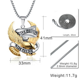 mens titanium chains Canada - Eagle Necklaces & Pendants LIVE TO RIDE For Men Mens Titanium Steel Chain