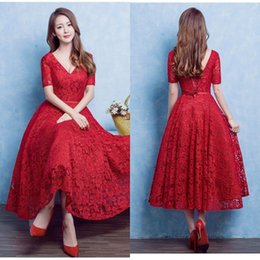 $enCountryForm.capitalKeyWord Canada - Vintage 2016 Full Lace Tea Length Short Prom Dresses Red A Line V Neck Illusion Short Sleeves Cheap Evening Party Gowns with Sash