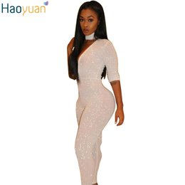 Barato Manga Comprida Mulheres M-Atacado- HAOYUAN Sexy Women Spandex Bodysuit Long Sleeve Halter Deep V Neck Bodycon Jumpsuit Long Preto e Branco Romper Club Jumpsuits