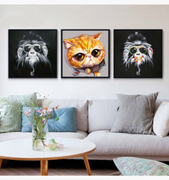 $enCountryForm.capitalKeyWord Canada - Pure hand painted modern simple home lovely penguin puppy kitten decorative hanging painting thick oil canvas knife painting JL334
