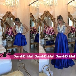 Robes De Soie Courtes Et Sexy Pas Cher-Bameloteodoro Celebrity Style deux pièces courtes robes de bal avec détachable Long Overskirt Royal Blue Satin perles de soie robes de soirée 2016