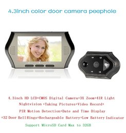 $enCountryForm.capitalKeyWord NZ - Hot video peephole door camera Multi-language 4.3inch 0.3Megapixels camera IR night vision PIR Motion Detection 32Rings 3X Zoom