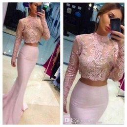 $enCountryForm.capitalKeyWord Canada - Fashion New Baby Pink Two Pieces Mermaid Bridesmaid Dresses Blush Backless Sheer Long Sleeves Lace Bodice Fiesta Prom Evening Gowns BA6434