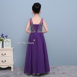 Barato Vestido De Flor Chiffon Roxo-2017 New Arrival Purple Flower Girls Vestidos Chiffon com pérolas espumantes Sequins Maxi Girls Party Dress Cheap Lace-up / Zipper Back Cheap