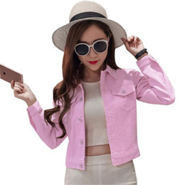 Barato Senhoras Rosa Casaco Curto-Atacado 2017 New Denim Jacket Mulheres Short Jeans Overcoat Ladies Jackets Tops Turn Down Collar Slim Pink White Blue Jeans Tops For Women