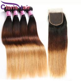 ombre closure 1b 27 2019 - Ombre Blonde Human Hair Bundles Lace Closure Silk Straight Virgin Peruvian Hair Extensions Three Tone 1B 4 27 Straight W