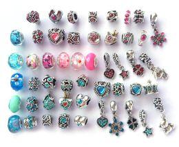 Nouveau style de mélange et couleur strass antique argent plaqué gros trou alliage perles charmes fit européen bracelet DIY en Solde