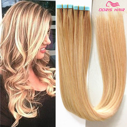 $enCountryForm.capitalKeyWord Australia - 26 Colors Mix 16Inch to 24Inch Tape in Human Hair Extensions Tape Hair Extensions, 40pcs 100g sets blonded p18 613 colour