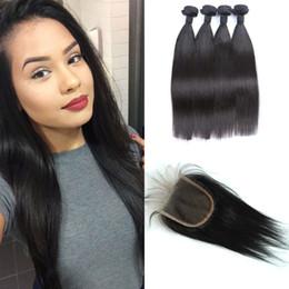 virgin mongolian straight human hair bundles 2019 - Indian Virgin Human Hair Bundle With Lace Closure 5pcs Lot Indian Straight Hair Weaves With Closure G-EASY discount virg