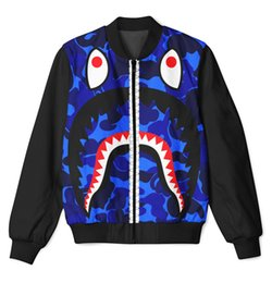 zipper teeth NZ - 2 Colors Real USA Size shark big teeth 3D Sublimation Print custom made zipper up Jacket plus size