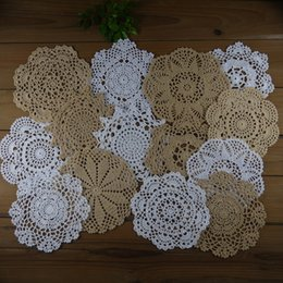"White Cotton Napkins Australia - lot of 14 Hand Crocheted Doilies Round Coasters ,7 Beige, 7 White, 7""-8""-9"" Table Napkin Wedding Home Adornment"