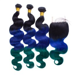$enCountryForm.capitalKeyWord Canada - #1B Blue Green Peruvian Ombre Body Wave With Closure Three Tone Human Hair 3 Bundles With Teal Ombre 4*4 Lace Closure 4Pcs Lot