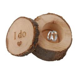 6 * 5.2 cm caja del anillo de bodas Rústico Shabby Chic caja de madera del anillo de bodas portador de la caja apoyos de fotografía redonda decoración de la boda WT038