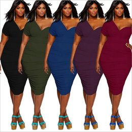 plus size dress code NZ - sexy, fashion, noble, youth, beautiful, big code Bodycon Dresses Plus Size Solid color V-Neck Short Sleeve F3P407