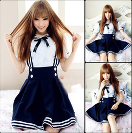 Maillot Costume Pas Cher-MaxDream 3 Color Blue Black Sweet Girl Maid Sailor Lolita Robe Japanese School Uniform Cosplay Costume DM1087