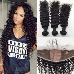 russian hair lace closure Canada - Unprocessed Hair With Closure Silk Base Frontal Closure With Bundles Deep Wave Silk Top Lace Frontal With Peruvian Human Hair Bundles