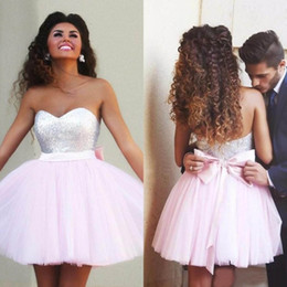 Wholesale 2019 Baby Pink Tulle Silver Sequined Short Homecoming Dresses Cheap Bow Zipper Back Mini Prom Party Dress Custom Made China EN81012