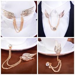 $enCountryForm.capitalKeyWord Canada - Men's diamond corsage brooch badge Korea angel wings suit upscale chain pin buckle collar pin female retro badge