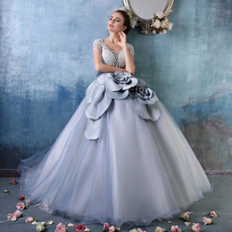 $enCountryForm.capitalKeyWord Canada - Cinderella Dusty Blue Debutante Ball Gowns Luxury Pearls 3D floral Short Sleeves Full length Princess Quinceanera Dresses Sweet 15 Girls
