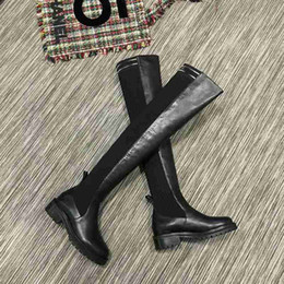 Size Black Pvc Knee High Boots Canada - Fashion Brand FD Womens Ankle Thigh-High Boot Cow leather Ladies Thin Leg Boots (Original Box) Over-the-Knee Size 35-40