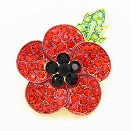 poppy flower pin Canada - High Quality UK Fashion Hot Selling Red Enamel Crystals Poppy Brooch UK Remembrance Day Gift Elegant Badge For UK Luxury Poppy Flower Pins