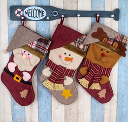 China 2017 High Quality Large Christmas Stocking Cartoon Christmas Decorations Santa Claus Snowman Moose Beer Red Chirdren Christmas Gift bag suppliers