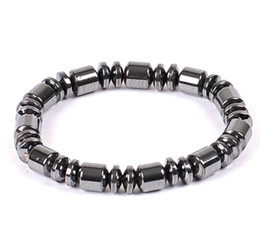 Discount hand beads for men - Hand Strings Nature Hematite Black Bracelet Necklace 6MM 8MM Beads Barrel Beaded Magnetic Therapy Bracelet Wrist Wrap fo