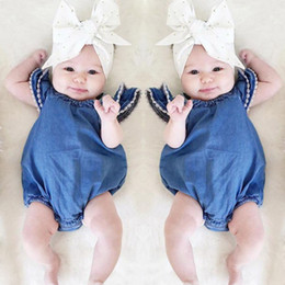 Discount toddler girls bubble romper - baby girls romper with Lace bubble sleeve denim infant one-piece jumpsuit toddler kids clothing top quality