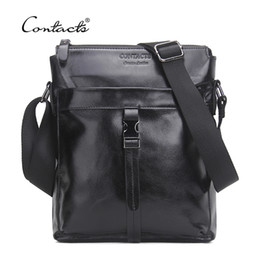 Chinese  CONTACT'S Famous Brand Genuine Cow Leather Men Bag Casual Business Mens Messenger Bag Vintage Men's Crossbody Bag Bolsas Male manufacturers