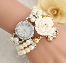 womens wrist band watches Canada - Luxury Christmas Gift watches Womens Bracelet Rhinestone Dial Flower Faux Pearl Band Analog Quartz Bracelet Pearl Blossom Wrist Watch