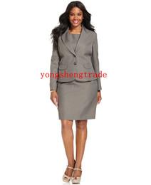 Wool Dress Jackets Canada - Plus Size Jacket Single Button Flap Pocket Plus Size Skirt Custom Made Woman Suit Grey Dress Suit HS7946