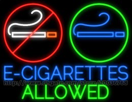 "smoking light cigarettes NZ - E-Cigarettes Allowed Logo Neon Sign Lighting Real Glass Tube Bar KTV Club Pub Hospital No Smoking Dsiplay LED Sign 30""X24"""