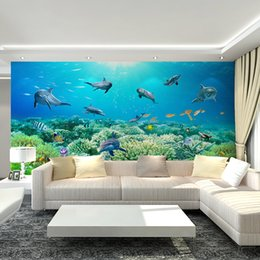 free shipping weave japan UK - 3D Underwater World Mural Art Deco interior non-woven wallpaper dolphin coral wall art, children's bedroom TV background, free shipping