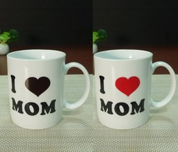 heat change mugs NZ - DHL free shipping 48pcs Mother's Day gifts I LOVE MOM ceramic magic heat sensitive color changing coffee mug tea cups