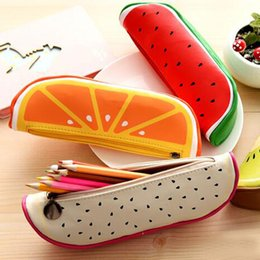 Material Storage Bags Canada - Lovely Fruit Shape Cosmetic Bag Watermelon Orange Pen Bags Stationery Bags Storage Pencil Case Casual Travel Makeup Bag Material Escolar