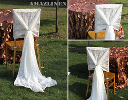 wholesales chair covers Canada - Custom Made 2016 Feminine White Lace Chair Covers Vintage Chair Sashes Romantic Wedding Decorations Wedding Supplies
