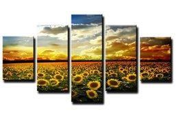 Free Gift Picture NZ - Free shipping Yellow Sunflower Sea Large HD Canvas Print Painting Artwork Unique Wall Art Picture Gift for Living Room F 1129