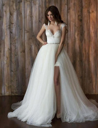 wedding dress short removable train NZ - 2 Pieces Detachable Train Wedding Dresses Backless Cap Sleeve Beaded Lace Tulle Removable Skirt Bridal Gowns Custom Made