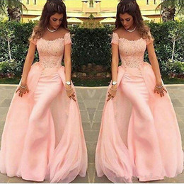 Wholesale Short Sleeve Peach Vestidos New Design Modern Lace Sheath Evening Dress Long Formal Prom Gowns Tulle Custom Made Floor Length Hot Sale
