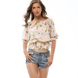Femme Sexy Décontractée Pas Cher-Women Blouse For 2017 Forme Thin Chiffon Short Sleeve Summer Tops Party Club Business Casual Sexy Print Blouses
