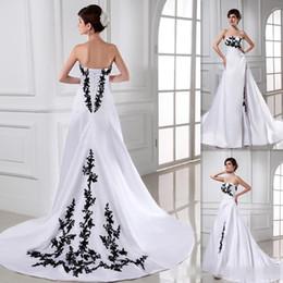 $enCountryForm.capitalKeyWord Australia - Romantic White And Black Wedding Dresses A-line Satin Sweep Train Lace Up Bridal Gowns Vestido De Noiva Western Cheap Bride Dress