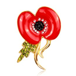 Poppy Flower Brooch UK - DHL Free shipping Gold Tone Bright Crystals Red Enamel Poppy Flower Pin Brooch Wholesale Poppy Brooches Fastest Shipping