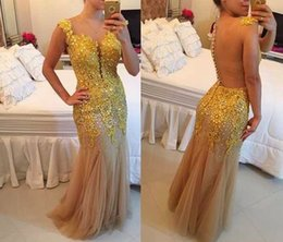 Robe Longue À Rayures Sexy À Perles Pas Cher-Gold Champagne Bling Beaded Sequined Robes de bal 2017 Tulle Applqiues Mermaid sans manches Sexy Sheer Backless Long Party Dress Evening Gown