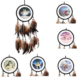 Discount antique car paintings - Vintage Handmade Dreamcatcher Oil Painting Totem Wolf Dream Catcher with Feather Wind Chimes Car Wall Hanging Home Decor