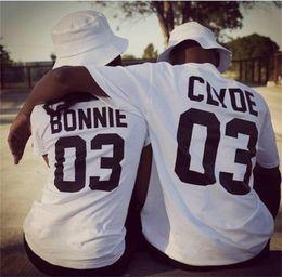 $enCountryForm.capitalKeyWord NZ - Wholesale-2016 European Street Style BONNIE CLYDE 03 Letter Print T-shirt Summer Male And Female Shirt Graphic Tees Women Men Sport Tops