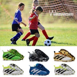 Barato Carregadores Baratos Das Meninas Dos Miúdos-Youth Ace 16 + purecontrol botas de futebol Pure Control Football Shoes Kid Soccer Cleats Boots Cheap Original Quality Boy Girl Football Shoes