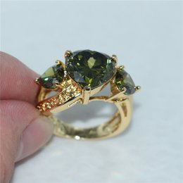 discount women emerald stone wedding rings fashion wedding three heart band ring for women anel